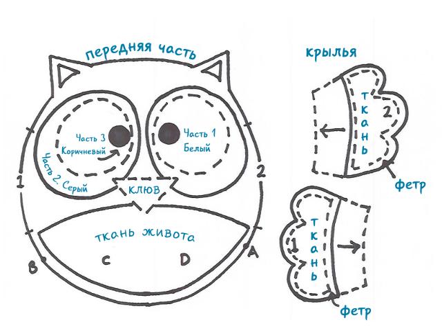 схема совы из фетра часть 1