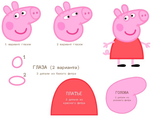 схема свинка пеппа фетр часть 1