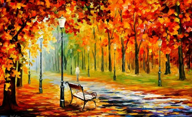 листья осень, алея