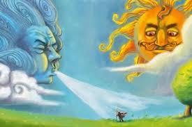 Солнце и Ветер поспорили, кто сильнее